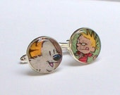 Guy Gift - Gift under 25 -Calvin and Hobbes Cuff links UPCYCLED from vintage comic book RECYCLED silver plated cufflinks