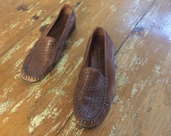 The Vintage Cole Haan Leather Woven New England Flats