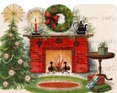 Homey Christmas Fireplace Image Digital Download vintage transfer card holiday xmas home yule hearth family christmas tree wreath gifts