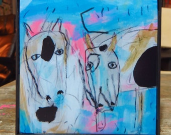 "Framed Print ""Cow"" Abstract Outsider Folk Art Painting Mixed Media"
