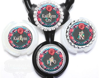 Stethoscope  ID Tag - Personalized Coral Flowers and Aztec Tribal Feathers Litmann ID with Name, Monogram, Occupation Title (A042)