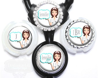 Cute Nurse Littmann Stethoscope Tag - Personalized Medical RN Stethoscope ID with Name, Monogram, Occupation Title (A271)