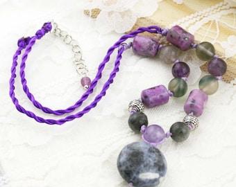 Awakening humbleness necklace - amethyst, moonstone, charoite, fluorite, and sodalite.