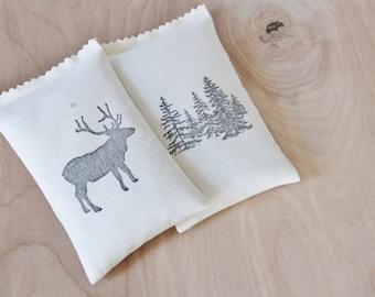 2 Balsam Sachets for Drawers - Fir Trees & Elk - Woodland Decor - Winter Wedding Bridesmaid Gift