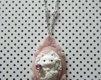 Maneki Neko Lucky Cat in pink hand cast cameo pendant necklace , cat jewelry
