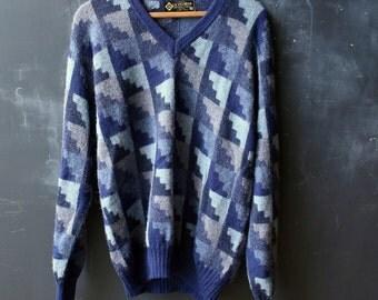 Vintage Wool Sweater Mens Pullover V Neck  Alpaca Woven Pullover Modern Design Item Blues Baby Alpaca Size Medium From Nowvintage on Etsy