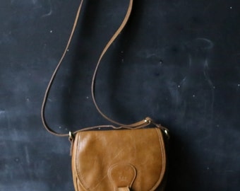Leather Purse Crossbody Strap Saddle Bag Style Tan Colored Adjustable Strap From Nowvintage on Etsy