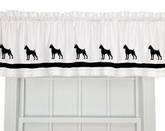 Boxer Dog (Cropped or Uncropped Ears) Window Valance in Your Choice of Colors