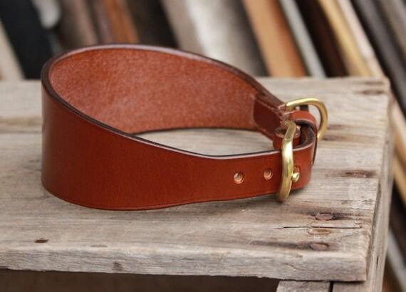 Sighthound plain leather collar - Greyhound, Whippet, Saluki - Fishtail tapered collar