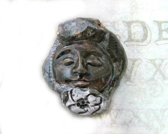 face bead, clay bead -  brown bead - handmade bead - ceramic bead -      # 147