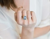 Sky Blue Topaz Emerald Cut Gemstone Cocktail Ring in 14K Gold | Solid Gold Statement Ring