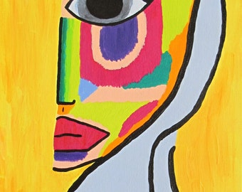 Woman in Brights - Original Acrylic on Stretched Canvas 12 x 24 - (Signed) in Shades of Fuchsia, Yellow, Red, Green, Blue, Orange, Purple