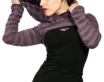 Knit hoodie, cropped knit shrug, perfect for pixies, faeries and burningman, by Plastik Wrap.
