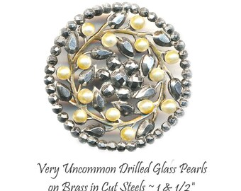 Button ~ Scarce Riveted Golden Pearls on 19th C. Cut Steel Flora-foliate in Cut Steels