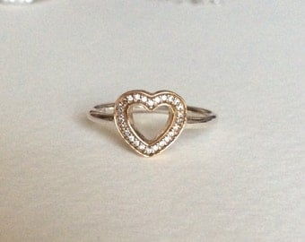 Heart ring 14k and sterling silver
