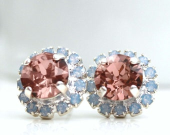 Blush Rose Swarovski Crystals Framed with Light Blue Opal Halo Crystals on Silver Post Earrings