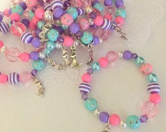 Mermaid birthday party theme, party favor, children, jewelry, Kids, charm, bracelet. Set of TEN.
