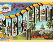 Vintage California Postcard - Greetings from Sacramento (Unused)