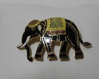 RARE Antique Left Facing Cloisonne Elephant Brooch, Trunk Down