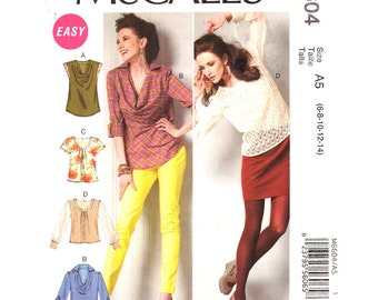 Womens Top Pattern Draped Cowl Neckline or Pleats McCalls 6604 Casual Pullover Tops Cap Sleeves Womens Sewing Pattern Size 6 to 14 UNCUT