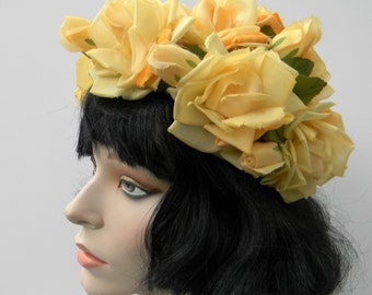 True Vintage 1960's Amy New York Marshall Field Chicago yellow roses hat