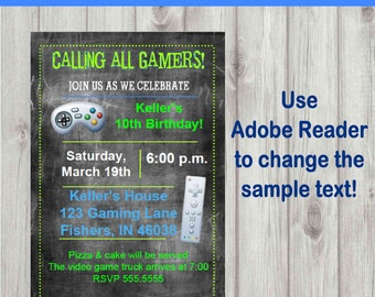 Editable Digital Chalkboard Style Video Game Party Invitation INSTANT DOWNLOAD