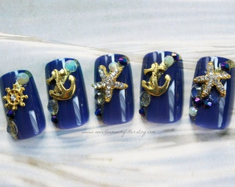 Ships Ahoy. Fake Nails, Anchor, Nautical, Press On Nails, Red White and Blue Nail Art, Fake Nails, False Nails Set, Acrylic Nails, Sailing