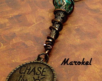 Chase the Sunset Necklace Brass Filigree Cone Turquoise Hexagon Bead wire Wrapped Vintaj Square Wire