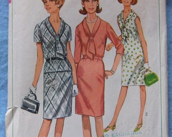 Vintage 1966 sewing pattern Misses One or Two Piece DRESS sz 18