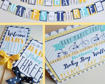 Baby Makes Three Bicycle Baby Shower Decorations  - Fully Assembled