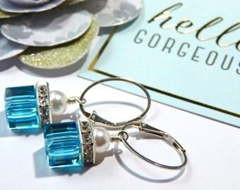 Elegant Swarovski Cube Earrings-Pearl and Light Turquoise