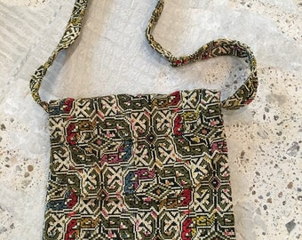 1970s Tapestry Purse - Crossbody or Shoulder Bag- Olive Green Gold Pink Red Blue - Boho Accessory - Hippie - Bohemian - Carpet Bag Tapestry