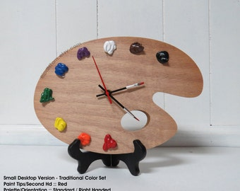 Artist Palette Clock, 3D Paint on Wood -TRADITIONAL, Left or Right Handed - Wall or Desk Clock -  art studio decor, artist painter gift