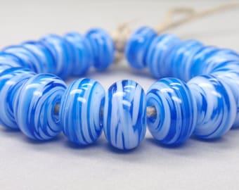 White Swirls  - 20 Handmade Lampwork Beads SW 209