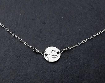 Spiral Design, Silver Coin Necklace, Circle Necklace, Disc Necklace