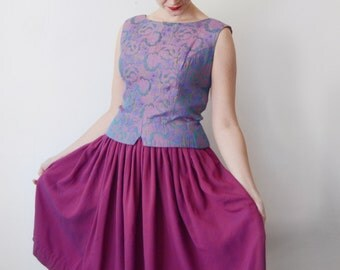1960s Purple Floral Top - M