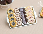 Chocolate Butter Cookies on Metal Baking Sheet - Four Varieties - Miniature Food in 12th Scale for Dollhouse