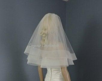 "3"" Horsehair Trim Wedding Drop Veil Illusion Tulle HH3DV, Bridal Veil, Blush, White, Ivory, Champagne, Off White, Light Ivory"