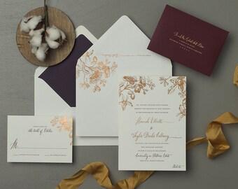 Vintage Botanical Invitation, Copper Foil, Letterpress Wedding Invitation, Modern Calligraphy