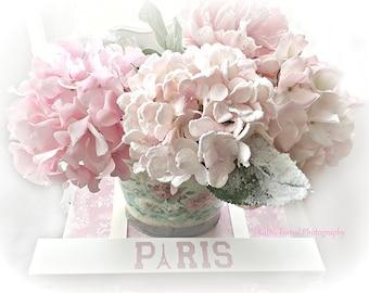 Pink Hydrangeas Photography, Pink Flower Prints, Shabby Chic Decor, Pink Hydrangeas Wall Art, Pink Flowers Wall Decor, Romantic Shabby Chic