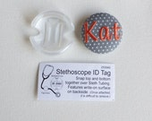Personalized Stethoscope ID name tag - monogrammed button - swiss pin dots with monogram name custom