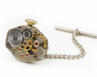Steampunk Vintage Buren Watch Movement Tie Tack Pin Chain Clip