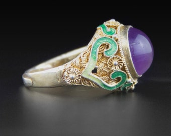 Vintage Amethyst Ring, Chinese Enamel Ring, Vermeil Ring, Gold Wash Over Sterling Silver Ring,  Chinese Ring, Chinese Export, 70s Ring
