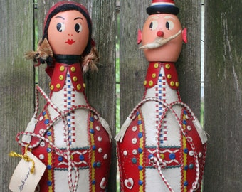 Mr. and Mrs. Russian Leather Covered Liquor Bottles