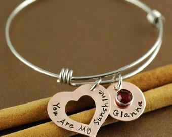 You are my Sunshine Bangle Bracelet, Copper Heart Bracelet, Sunshine Bangle, Personalized Sunshine Jewelry, Hand Stamped Name Bracelet