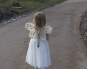 Wedding glitter fairy wings, flower girl costume, bridesmaid butterfly wings, ivory and gold, SALE