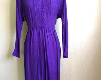 Vintage 80s PURPLE SILK Dress - Liz Claiborne Floral Wrap