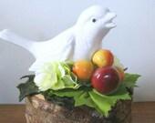 Bird Figurine Centerpiece Garden Gift Vintage Upcycled Recycled Repurposed