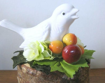 Bird Figurine Centerpiece Garden Gift Vintage Upcycled Recycled Repurposed