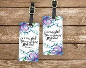 Personalized Luggage Tags Bible Verse Peter 1:6 Joy Ahead - Metal Tags with Printed Personalization
